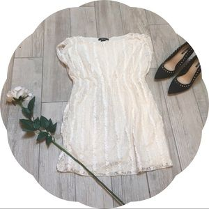 White Lace Sequined Dress